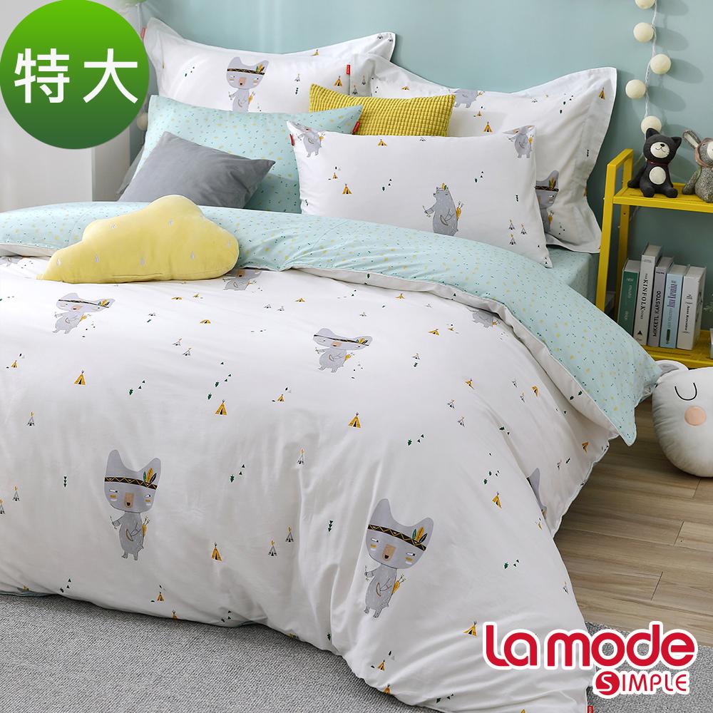 La Mode寢飾 勇士之舞100%精梳棉兩用被床包組(特大)