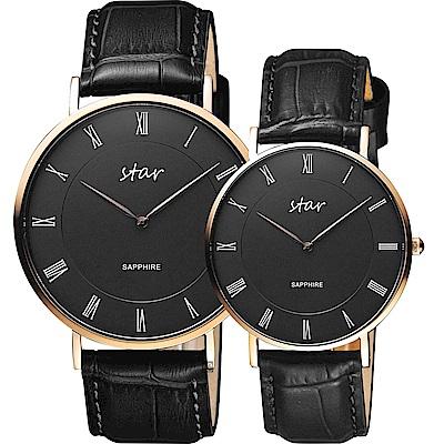 STAR 時代 城市情人羅馬石英對錶-黑x玫塊金框/41+36mm