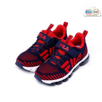 FILA KIDS 大童氣墊MD慢跑鞋-藍紅 3-J410U-322