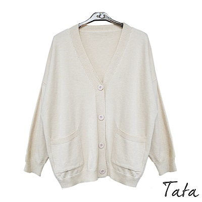 V領雙口袋針織外套 共二色 TATA