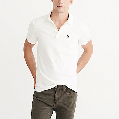 A&F 經典電繡麋鹿短袖Polo衫-白色 AF Abercrombie