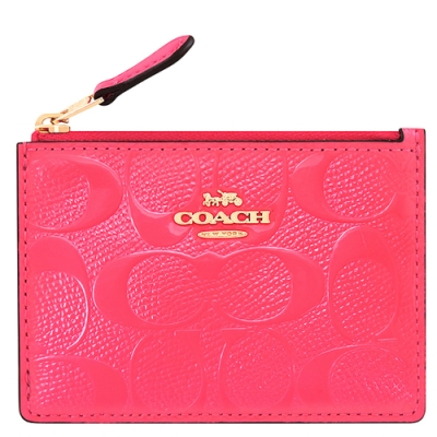 COACH 桃紅色亮面皮革大C浮雕鑰匙零錢包