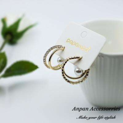 【ANPAN愛扮】韓東大門水鑽珍珠雙C925銀針耳釘式耳環