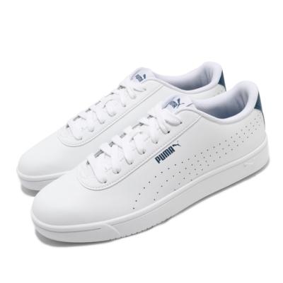 Puma 休閒鞋 Court Pure 運動 男鞋 基本款 簡約 皮革 舒適 穿搭 白 藍 37476604