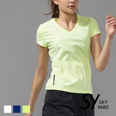 【SKY YARD 天空花園】蜂巢幾何壓紋透氣網眼運動T恤-黃色