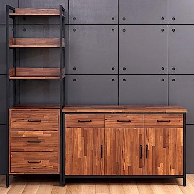 D&T德泰傢俱格萊斯積層木工業風三抽展示架+4.5尺餐櫃-196.2x45.3x196cm