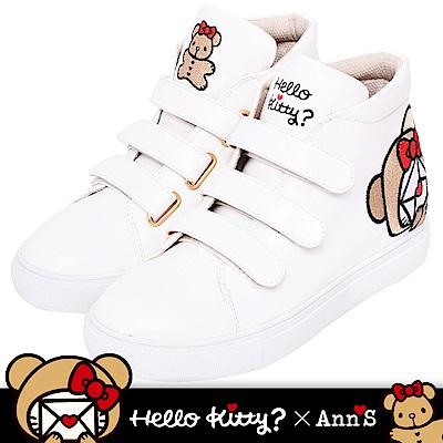 HELLO KITTY X Ann'S棕色熊熊三條魔鬼氈高筒內增高球鞋-白