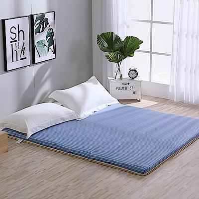 LAMINA 綠竹兩用透氣床墊-條紋藍(雙人)