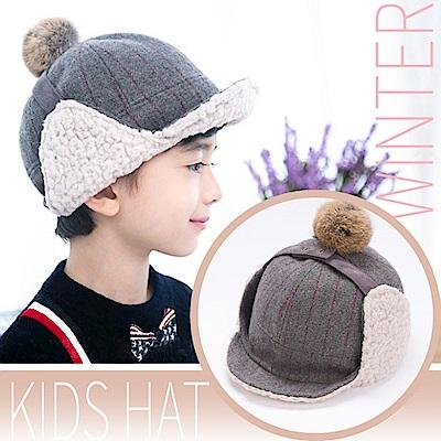 VOSUN 兒童新款 福爾摩斯 頂級毛球+內刷毛抗風保暖覆耳羊毛帽子_淺灰