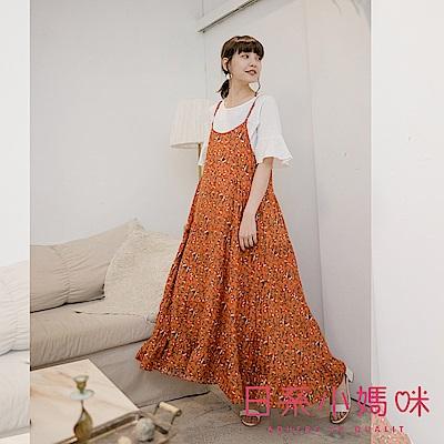 日系小媽咪孕婦裝-滿版花草波浪裙襬細肩吊帶洋裝 (共三色)