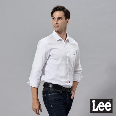 Lee 素色長袖休閒襯衫 男 白