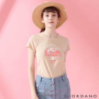 【GIORDANO】女裝DEAR WORLD系列印花T恤-72 水泥灰