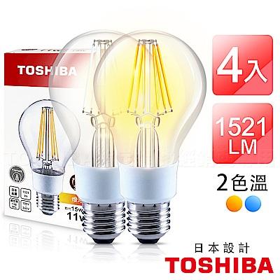 TOSHIBA東芝 11W LED球型燈絲燈泡-4入組(晝光色/燈泡色)