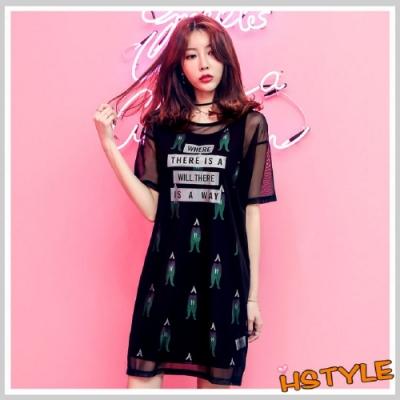 連身裙 兩件式印花網紗短袖洋裝YQ7164-創翊韓都