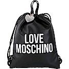 LOVE MOSCHINO 銀字附鑽心吊飾束口皮革後背包(黑色)
