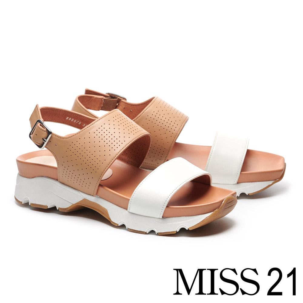 涼鞋 MISS 21 夏日一字帶撞色拼接幾何沖孔厚底涼鞋-咖