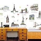 半島良品 DIY無痕壁貼-世界名築AY9090 60x90cm