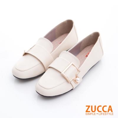 ZUCCA-珍珠金屬皮革平底鞋-白-z6809we