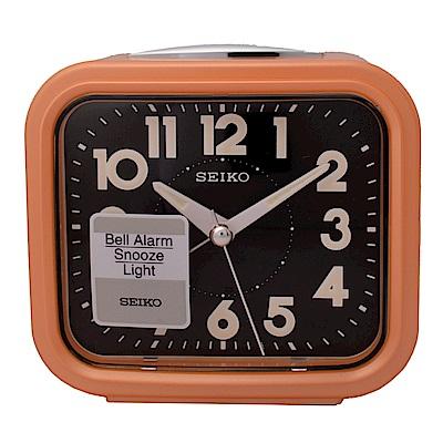 SEIKO 精工 流線方型靜音夜光貪睡鬧鐘-橘框黑面