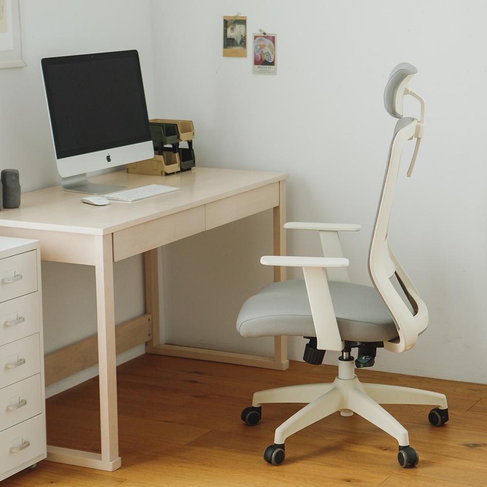 完美主義 韓國進口極簡設計高背頭靠電腦椅/辦公椅/書桌椅/T扶手/網布(2色)-DIY