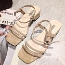 KEITH-WILL時尚鞋館 好評加碼玩美潮流粗跟涼鞋 卡其