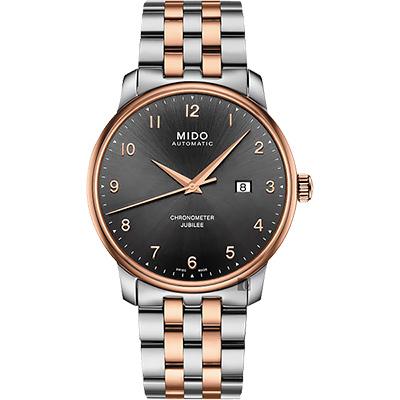 MIDO美度 Baroncelli 永恆系列天文台認證機械錶-灰x雙色版/42mm