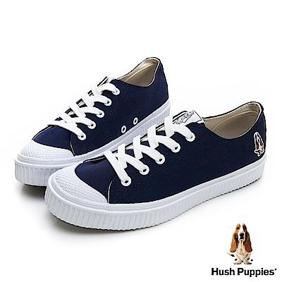 Hush Puppies 韓系粉彩咖啡紗餅乾鞋-深藍