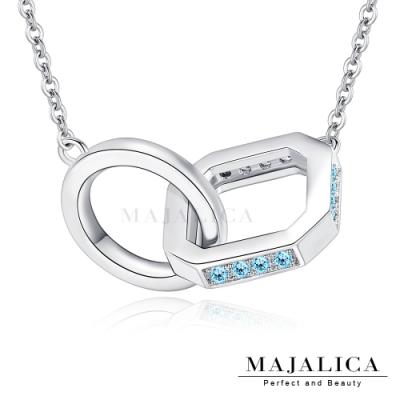 Majalica雙圈鎖骨鍊925純銀項鍊女鍊 纏綿相擁 銀色藍鋯 單個價格(MIT)