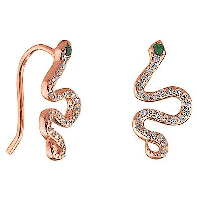 SHASHI 美鑽蛇耳環 貼合耳廓耳環 925純銀鑲18K玫瑰金 SNAKE CLIMBE