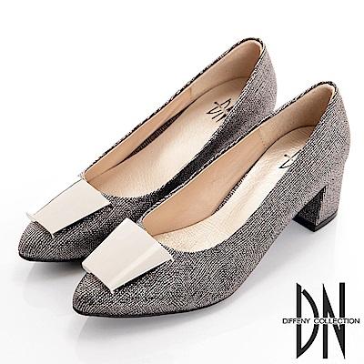 DN 簡約素雅 質感舒適微尖頭方跟鞋-灰