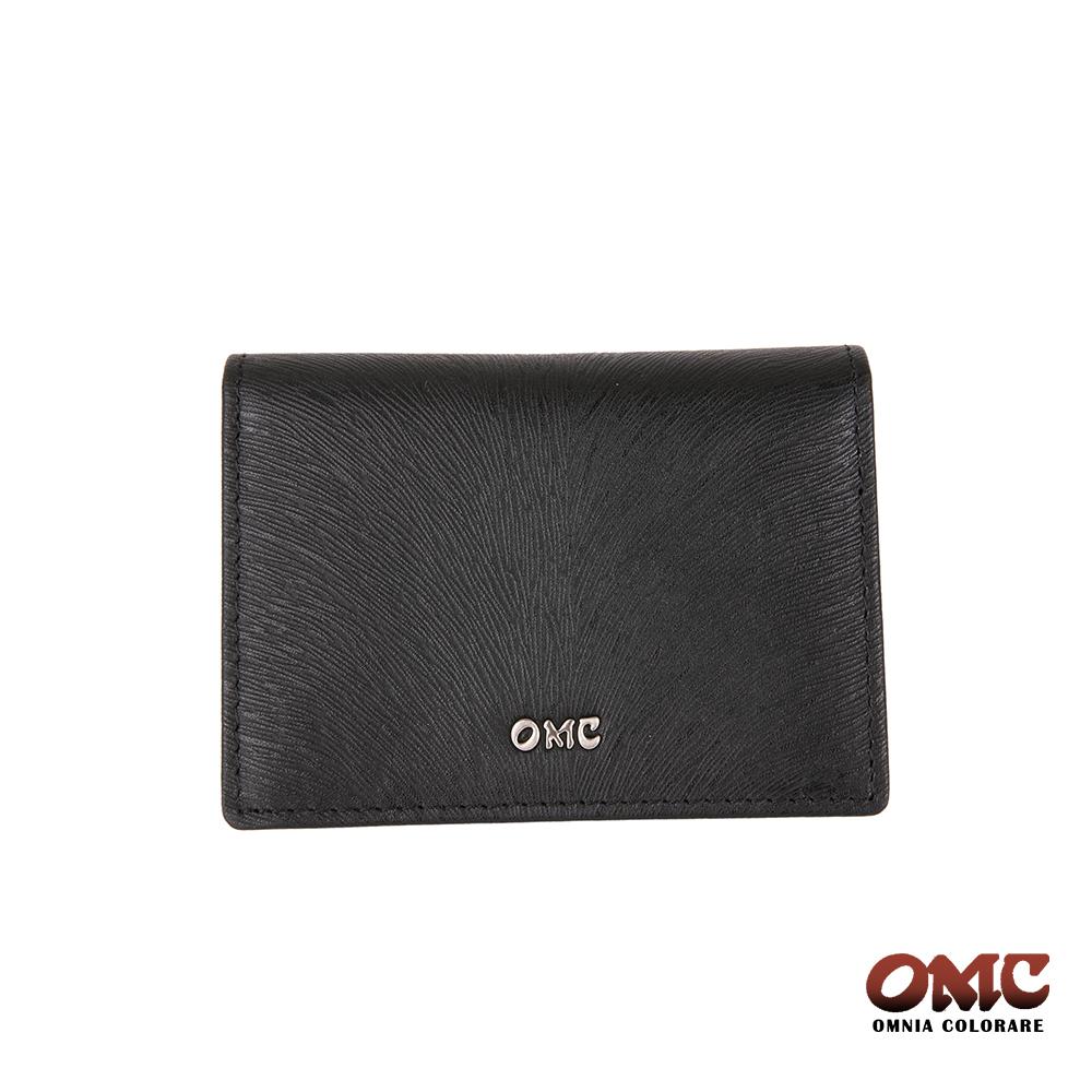 OMC 馬尾紋翻蓋3卡透明窗名片夾-黑色