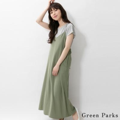 Green Parks【SET ITEM】華夫格T恤+舒適素面吊帶連身裙