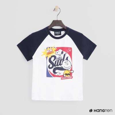 Hang Ten -童裝 - Charlie Brown-撞色復古圖樣短T - 白