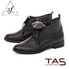 TAS素面擦色綁帶低跟短靴-低調黑