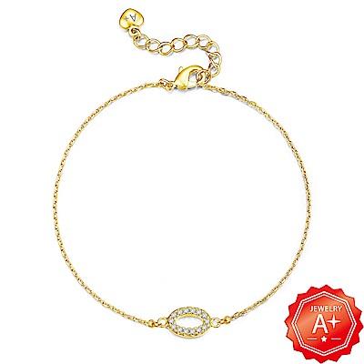 A+黃金 精緻滿鑽橢圓圈 999千足黃金墜手鍊
