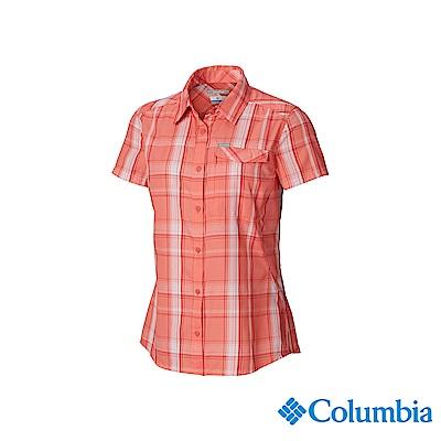 Columbia 哥倫比亞 女款-UPF50快排短袖襯衫-粉紅格紋 UAK26560