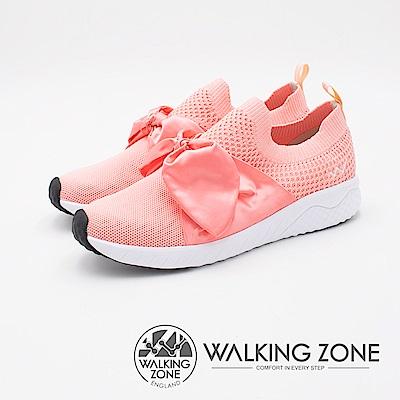 WALKING ZONE 天痕戶外W系列夢幻緞帶蝴蝶結飛線編織 女鞋-粉