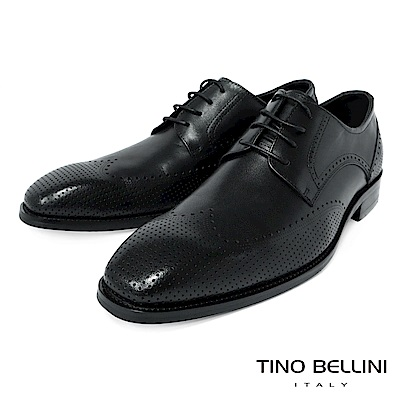 TINO BELLINI 男款牛皮微方頭雕花簍空紳士鞋-黑