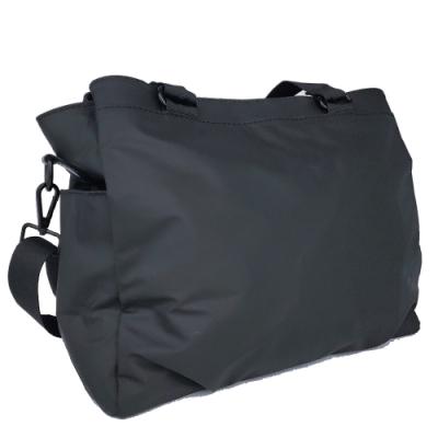 【Misstery】側背包熱壓PU面料休閒側背包-大-黑