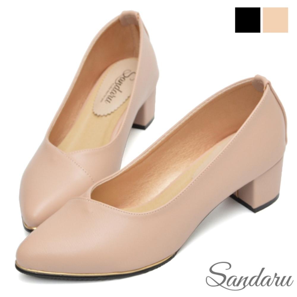 山打努SANDARU-OL中跟鞋 金線滾邊尖頭粗跟鞋-杏 (杏)