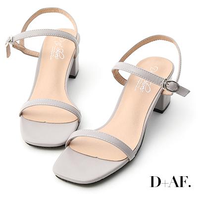 D+AF 夏日美型.一字細帶方頭中跟涼鞋*灰