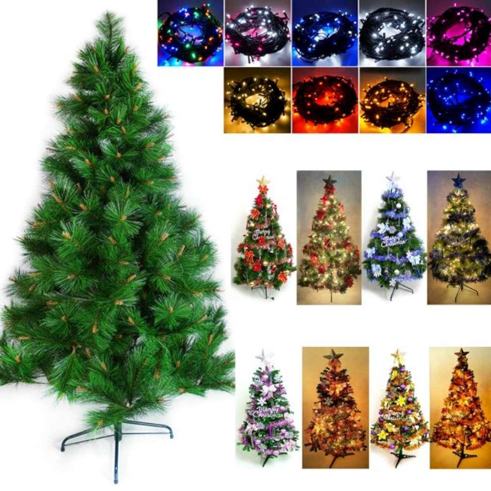 摩達客 8尺綠松針葉聖誕樹(飾品組+100LED燈4串附控制器)