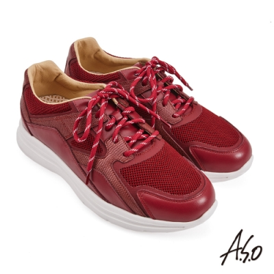 A.S.O 機能休閒 萬步健康鞋 牛皮拼接透氣網布休閒鞋-正紅
