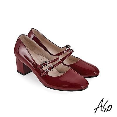 A.S.O 新式復古 鏡面牛皮瑪麗珍鞋 洋紅