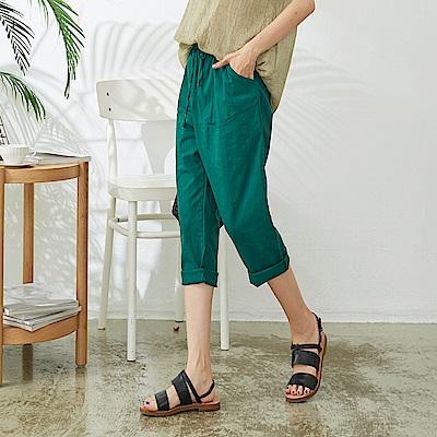 慢 生活 繫帶直筒寬管蘿蔔褲- 深綠/卡其