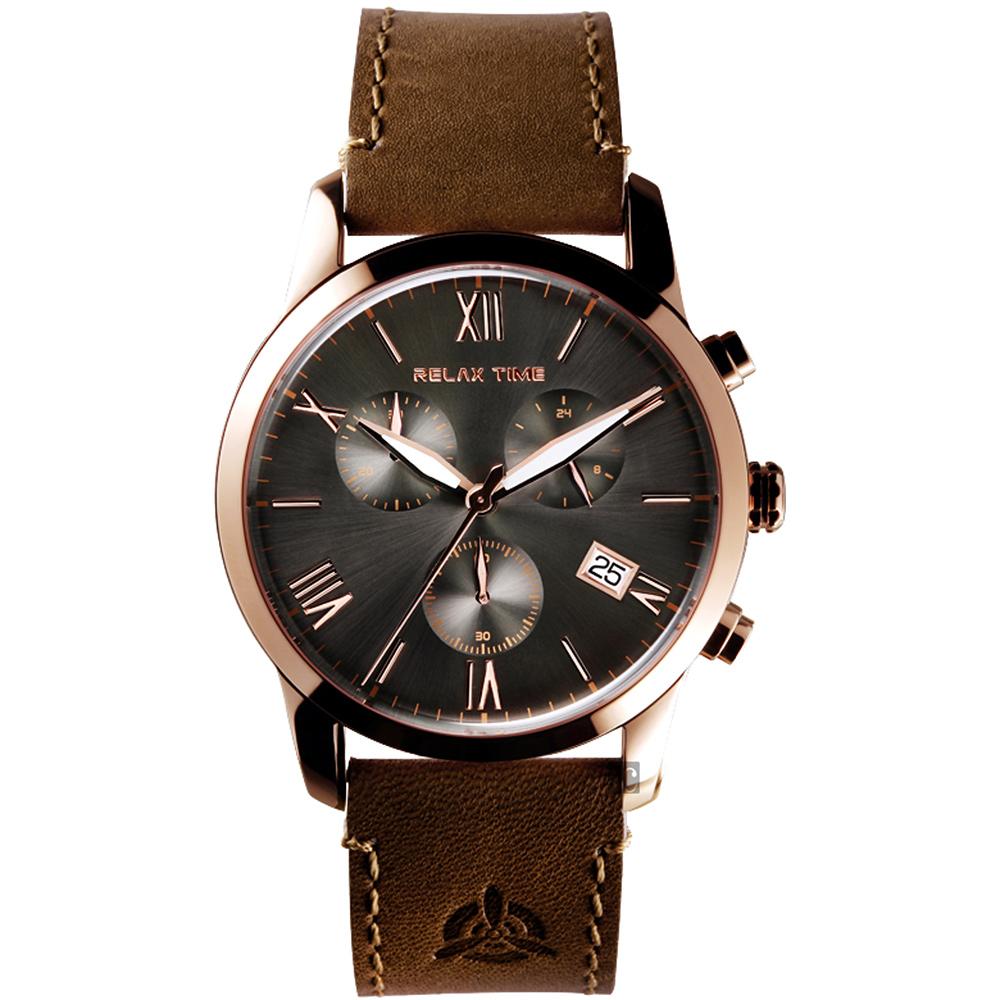 RELAX TIME RT67 飛行者計時手錶(RT-67-7)-灰x咖啡/45mm