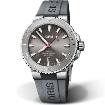 ORIS Aquis Relief 時間之海日期潛水錶-43.5mm灰面/灰膠帶