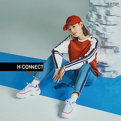 H:CONNECT 韓國品牌 女裝-不收邊滾邊造型牛仔褲-藍