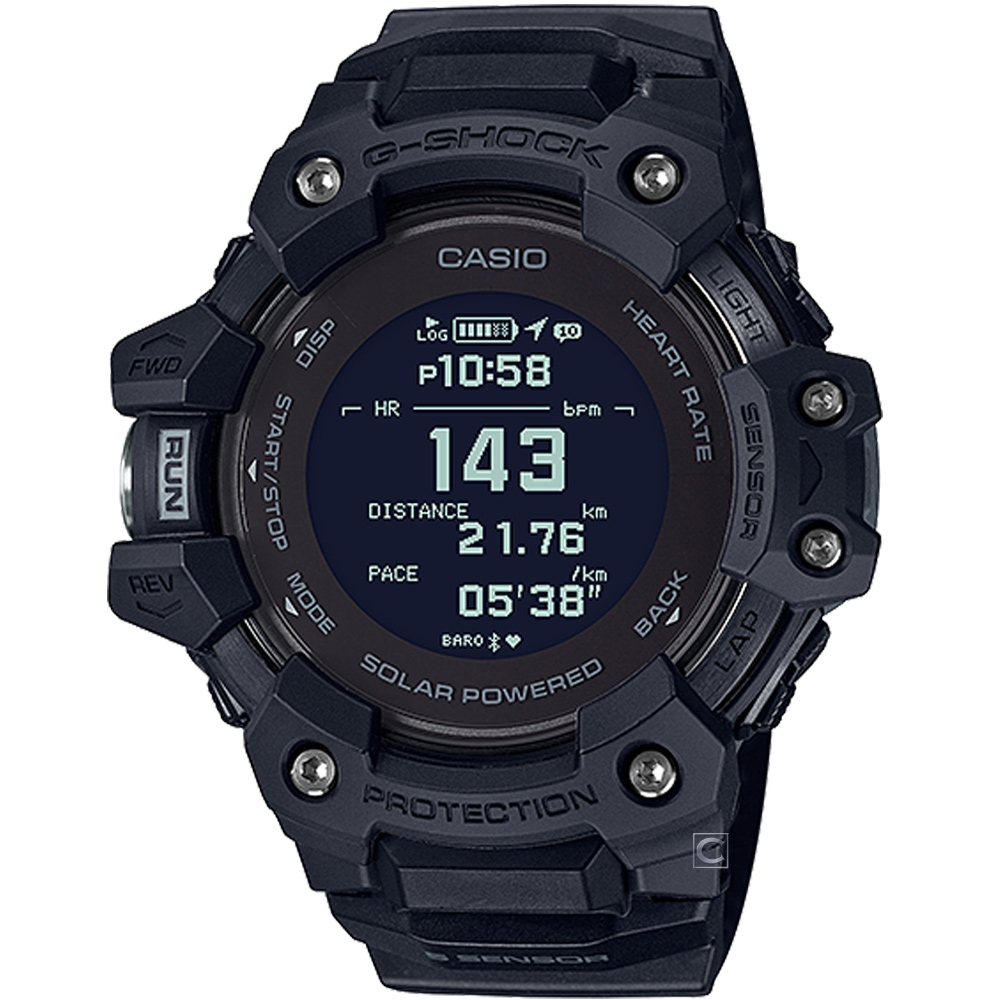 CASIO G-SHOCK 心率偵測 GPS定位 藍牙 太陽能電力運動錶(GBD-H1000-1)_55mm