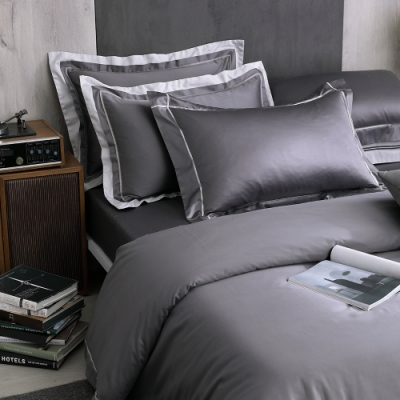 OLIVIA Hamilton 灰 標準雙人床包枕套三件組 500織高織紗匹馬棉 台灣製